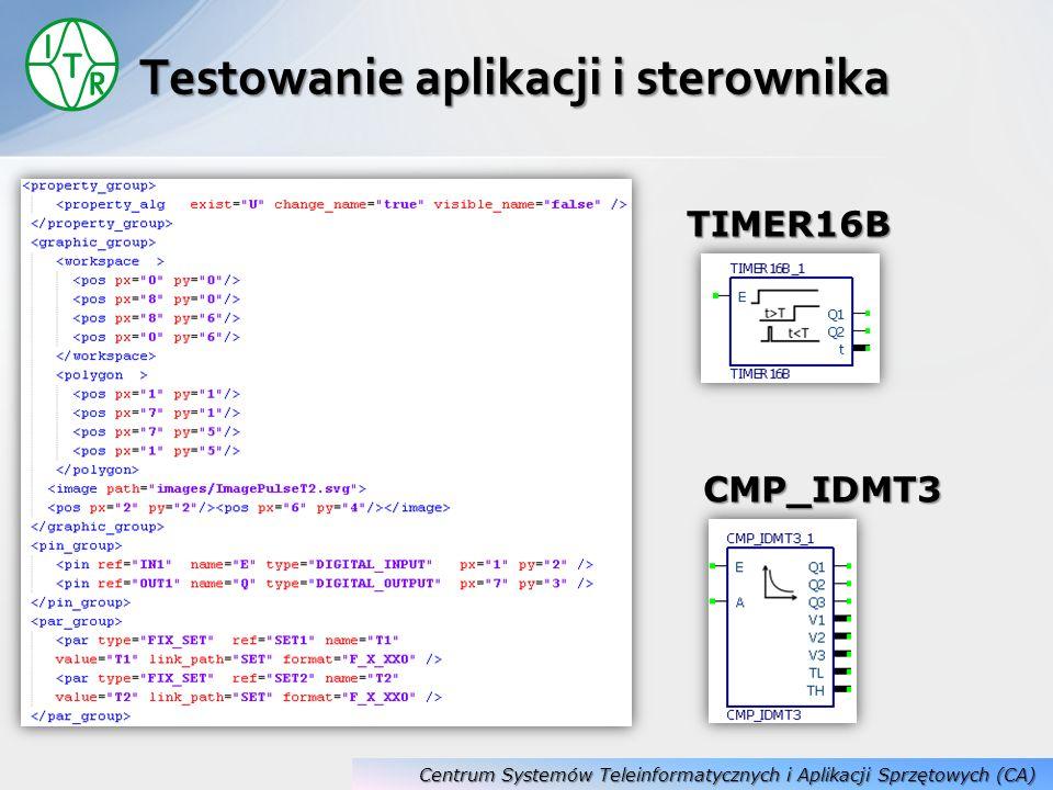 Testowanie aplikacji i sterownika CMP_IDMT3 TIMER16B Centrum Systemów Teleinformatycznych i Aplikacji Sprzętowych (CA)