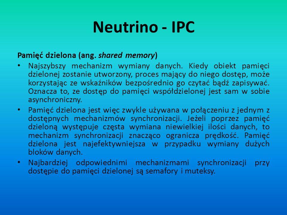 Neutrino - IPC Pamięć dzielona (ang. shared memory) Najszybszy mechanizm wymiany danych. Kiedy obiekt pamięci dzielonej zostanie utworzony, proces maj