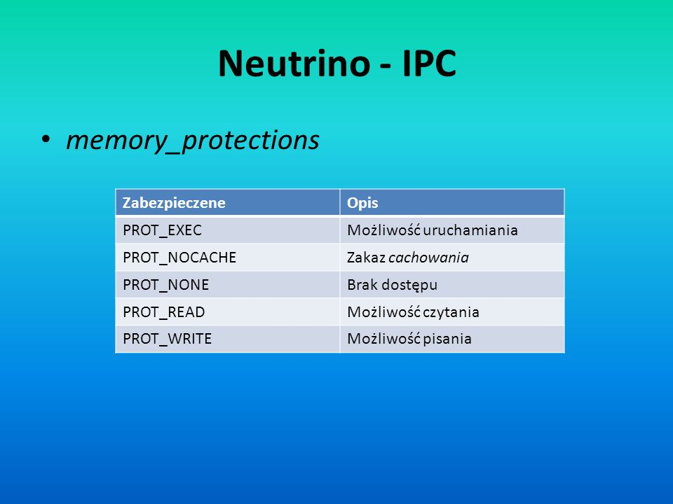 memory_protections ZabezpieczeneOpis PROT_EXECMożliwość uruchamiania PROT_NOCACHEZakaz cachowania PROT_NONEBrak dostępu PROT_READMożliwość czytania PR