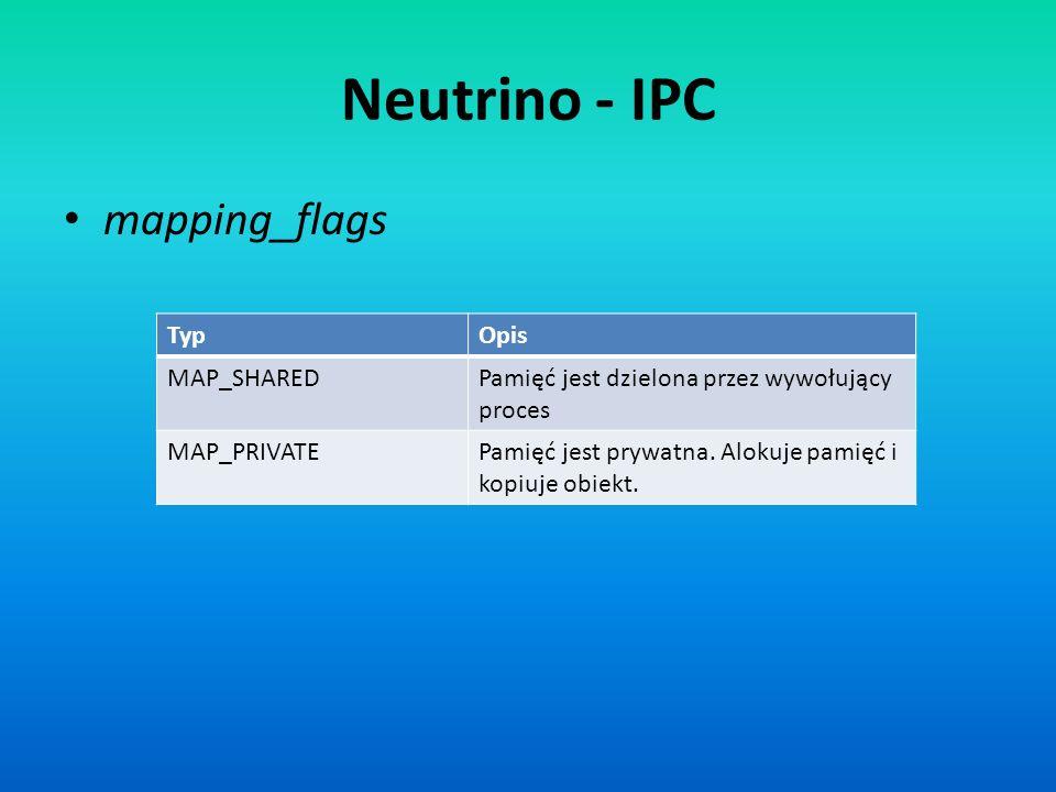 Neutrino - IPC mapping_flags TypOpis MAP_SHAREDPamięć jest dzielona przez wywołujący proces MAP_PRIVATEPamięć jest prywatna. Alokuje pamięć i kopiuje