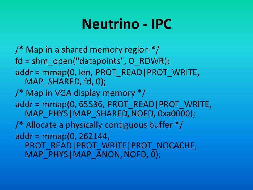 Neutrino - IPC /* Map in a shared memory region */ fd = shm_open(