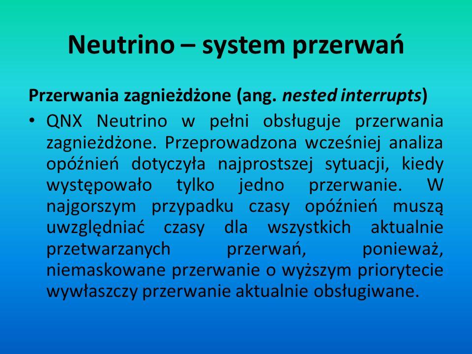 Przerwania zagnieżdżone (ang. nested interrupts) QNX Neutrino w pełni obsługuje przerwania zagnieżdżone. Przeprowadzona wcześniej analiza opóźnień dot