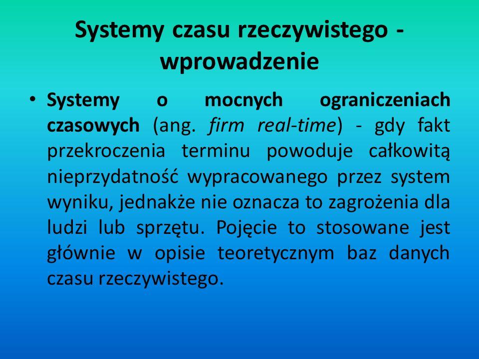Systemy o mocnych ograniczeniach czasowych (ang. firm real-time) - gdy fakt przekroczenia terminu powoduje całkowitą nieprzydatność wypracowanego prze