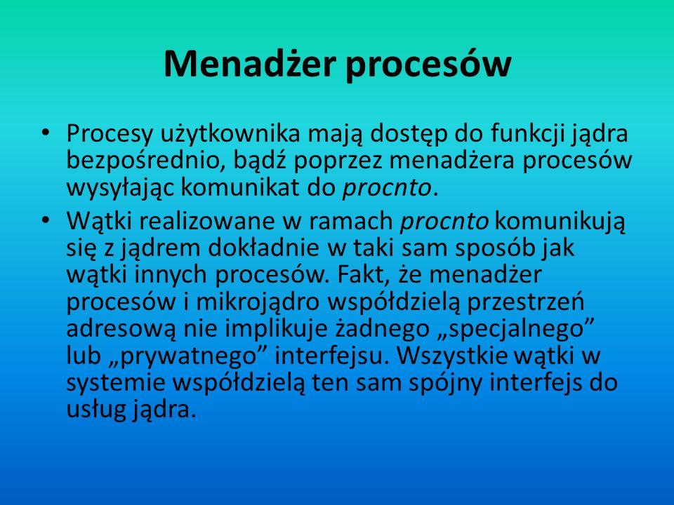 Menadżer procesów Procesy użytkownika mają dostęp do funkcji jądra bezpośrednio, bądź poprzez menadżera procesów wysyłając komunikat do procnto. Wątki