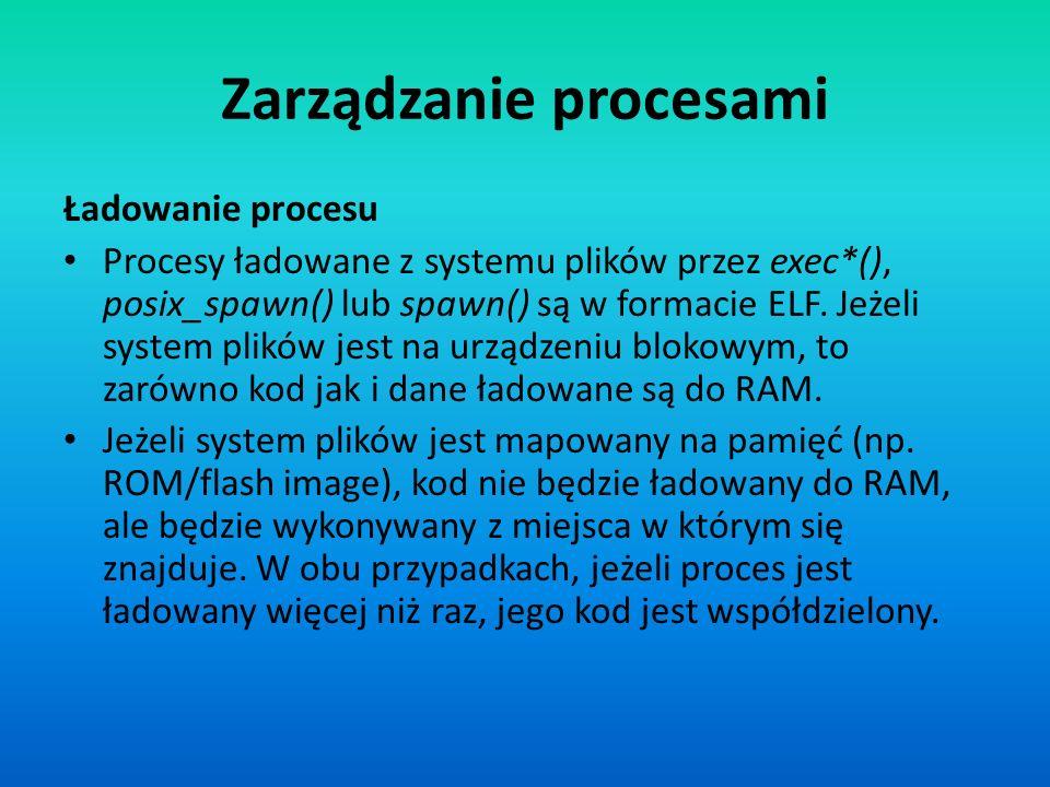 Zarządzanie procesami Ładowanie procesu Procesy ładowane z systemu plików przez exec*(), posix_spawn() lub spawn() są w formacie ELF. Jeżeli system pl