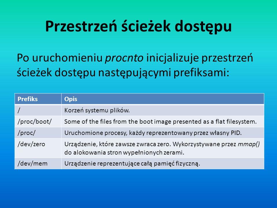 Przestrzeń ścieżek dostępu PrefiksOpis /Korzeń systemu plików. /proc/boot/Some of the files from the boot image presented as a flat filesystem. /proc/