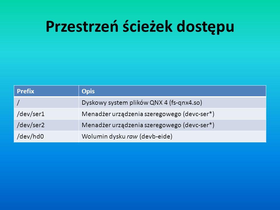 Przestrzeń ścieżek dostępu PrefixOpis /Dyskowy system plików QNX 4 (fs-qnx4.so) /dev/ser1Menadżer urządzenia szeregowego (devc-ser*) /dev/ser2Menadżer