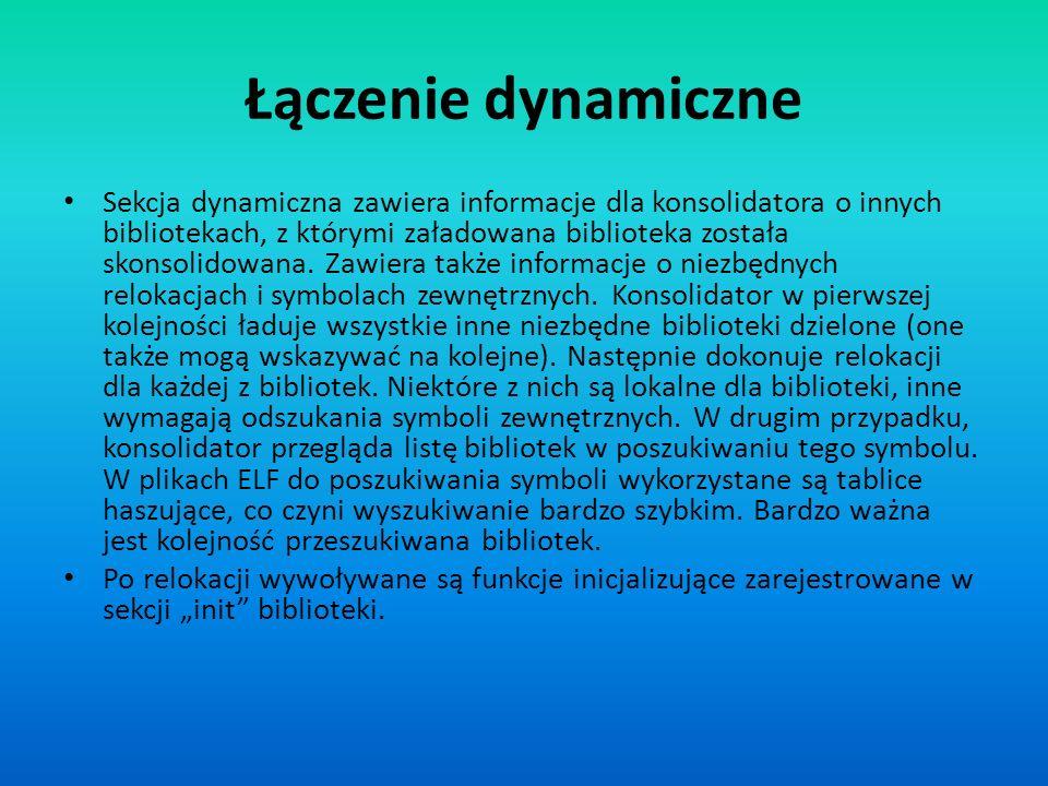 Łączenie dynamiczne Sekcja dynamiczna zawiera informacje dla konsolidatora o innych bibliotekach, z którymi załadowana biblioteka została skonsolidowa