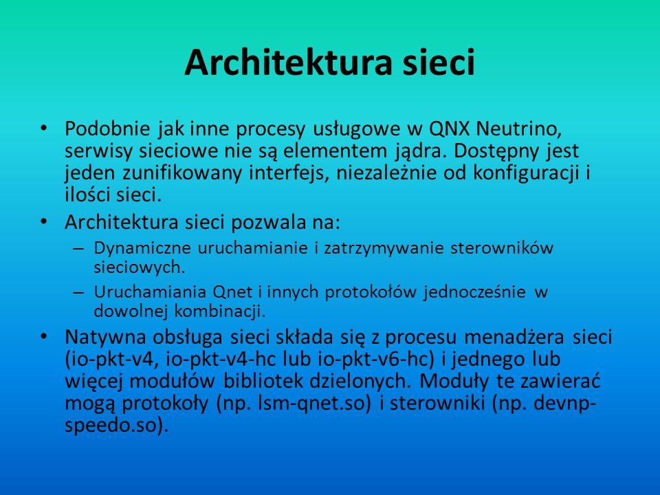 Architektura sieci Podobnie jak inne procesy usługowe w QNX Neutrino, serwisy sieciowe nie są elementem jądra. Dostępny jest jeden zunifikowany interf