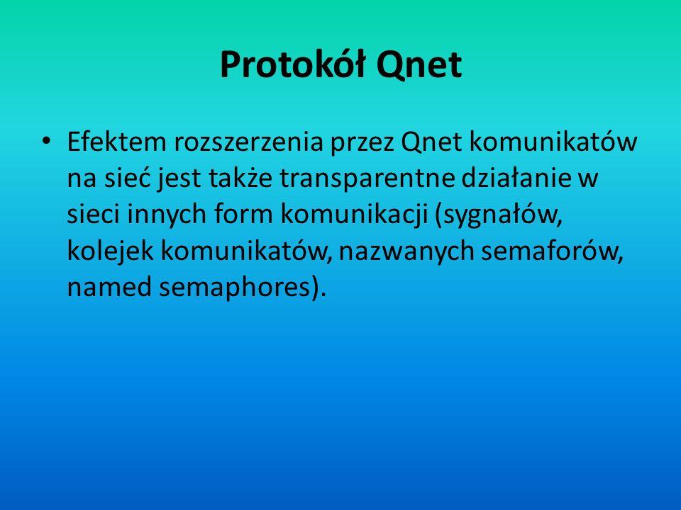 Protokół Qnet Efektem rozszerzenia przez Qnet komunikatów na sieć jest także transparentne działanie w sieci innych form komunikacji (sygnałów, koleje