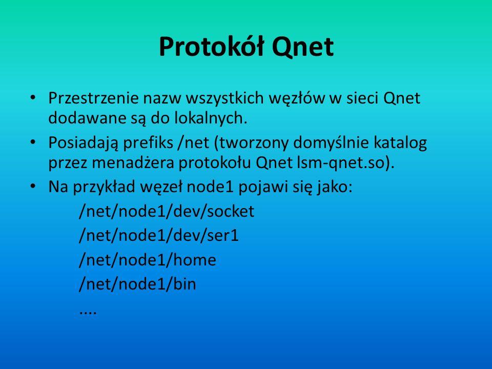Protokół Qnet Przestrzenie nazw wszystkich węzłów w sieci Qnet dodawane są do lokalnych. Posiadają prefiks /net (tworzony domyślnie katalog przez mena