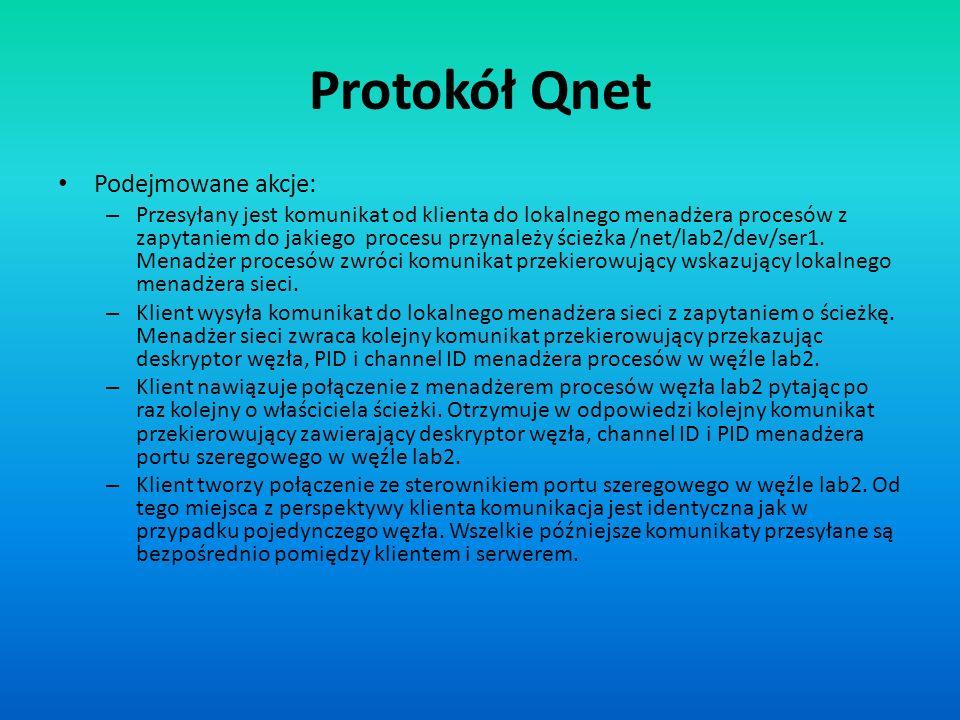 Protokół Qnet Podejmowane akcje: – Przesyłany jest komunikat od klienta do lokalnego menadżera procesów z zapytaniem do jakiego procesu przynależy ści