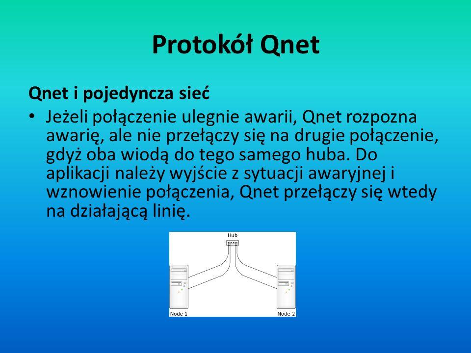 Protokół Qnet Qnet i pojedyncza sieć Jeżeli połączenie ulegnie awarii, Qnet rozpozna awarię, ale nie przełączy się na drugie połączenie, gdyż oba wiod