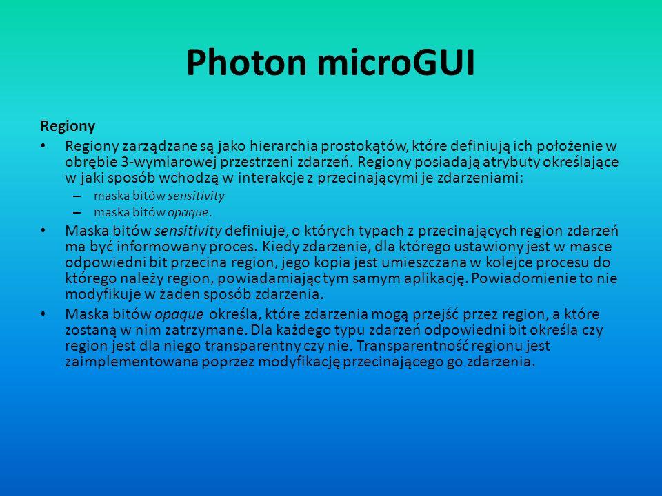 Photon microGUI Regiony Regiony zarządzane są jako hierarchia prostokątów, które definiują ich położenie w obrębie 3-wymiarowej przestrzeni zdarzeń. R
