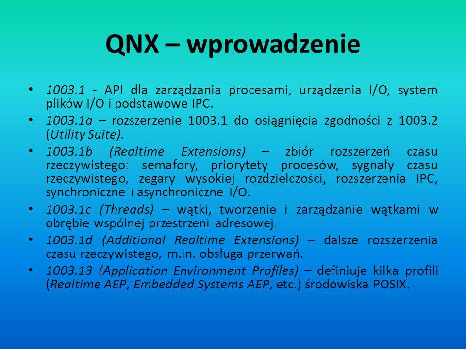 QNX – wprowadzenie 1003.1 - API dla zarządzania procesami, urządzenia I/O, system plików I/O i podstawowe IPC. 1003.1a – rozszerzenie 1003.1 do osiągn