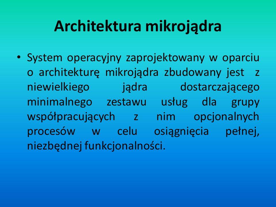 Architektura mikrojądra System operacyjny zaprojektowany w oparciu o architekturę mikrojądra zbudowany jest z niewielkiego jądra dostarczającego minim
