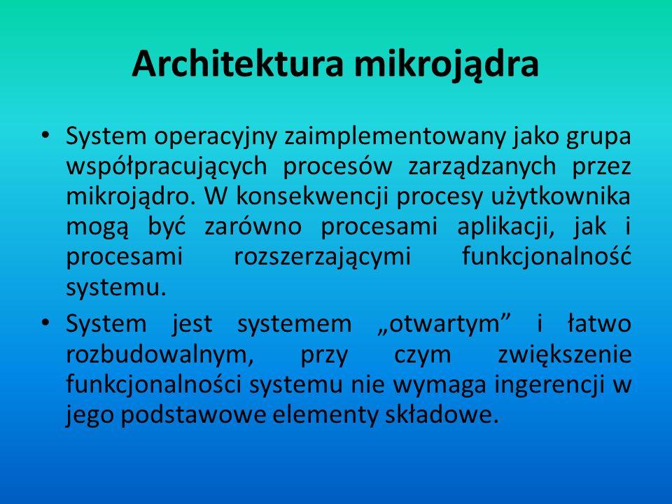 Architektura mikrojądra System operacyjny zaimplementowany jako grupa współpracujących procesów zarządzanych przez mikrojądro. W konsekwencji procesy