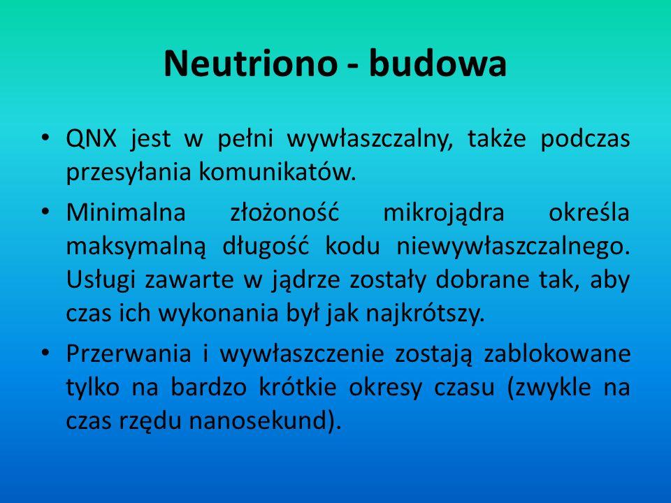 Neutriono - budowa QNX jest w pełni wywłaszczalny, także podczas przesyłania komunikatów. Minimalna złożoność mikrojądra określa maksymalną długość ko