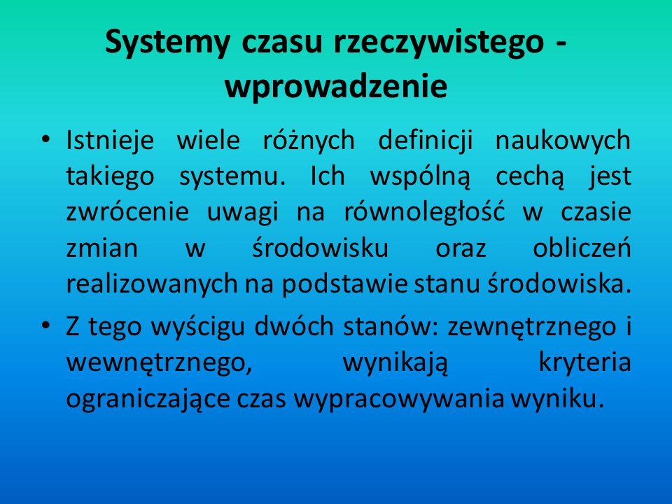 Systemy czasu rzeczywistego - wprowadzenie Istnieje wiele różnych definicji naukowych takiego systemu. Ich wspólną cechą jest zwrócenie uwagi na równo