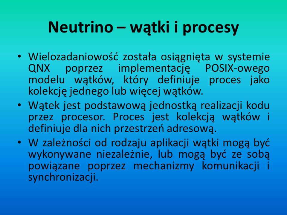 Neutrino – wątki i procesy Wielozadaniowość została osiągnięta w systemie QNX poprzez implementację POSIX-owego modelu wątków, który definiuje proces