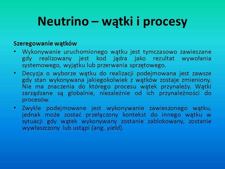 Szeregowanie wątków Wykonywanie uruchomionego wątku jest tymczasowo zawieszane gdy realizowany jest kod jądra jako rezultat wywołania systemowego, wyj