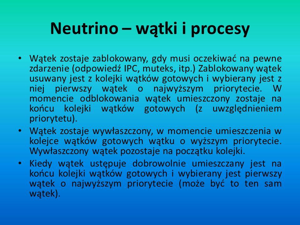 Neutrino – wątki i procesy Wątek zostaje zablokowany, gdy musi oczekiwać na pewne zdarzenie (odpowiedź IPC, muteks, itp.) Zablokowany wątek usuwany je