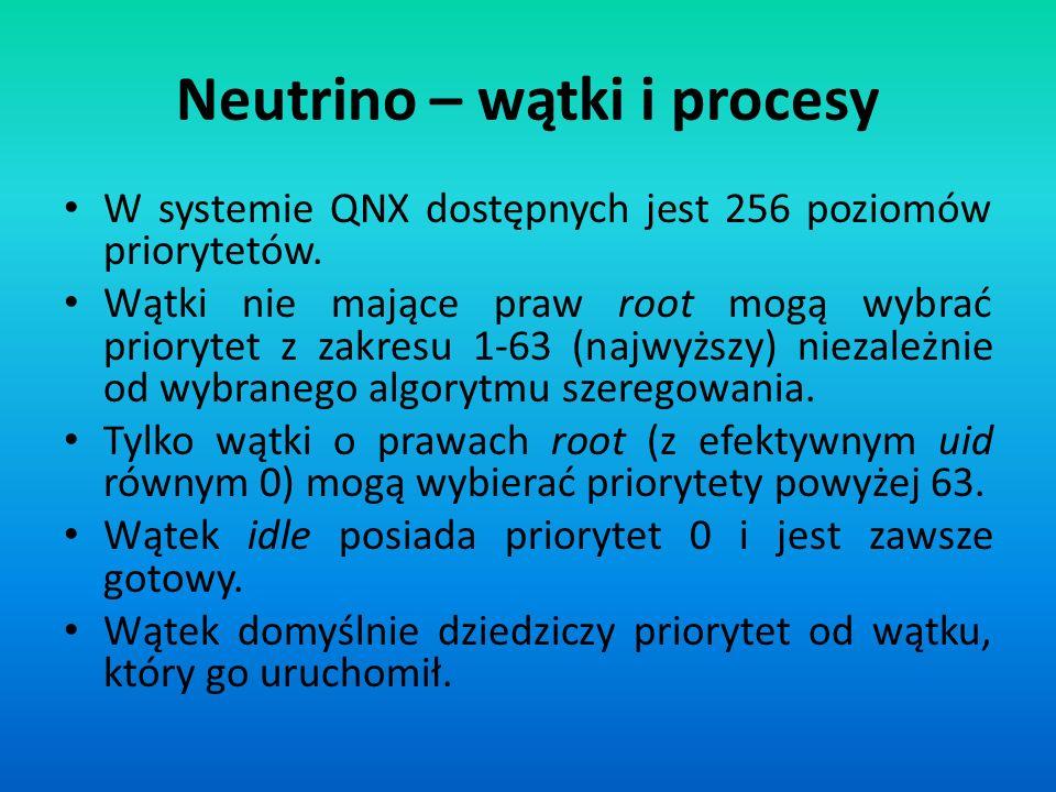 Neutrino – wątki i procesy W systemie QNX dostępnych jest 256 poziomów priorytetów. Wątki nie mające praw root mogą wybrać priorytet z zakresu 1-63 (n