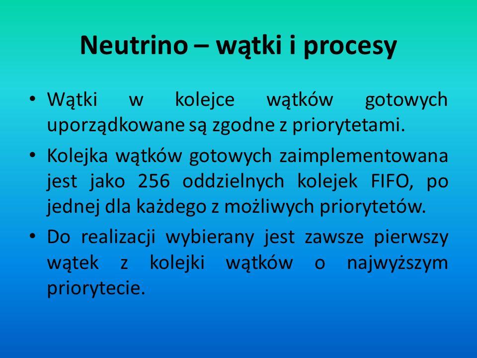 Neutrino – wątki i procesy Wątki w kolejce wątków gotowych uporządkowane są zgodne z priorytetami. Kolejka wątków gotowych zaimplementowana jest jako