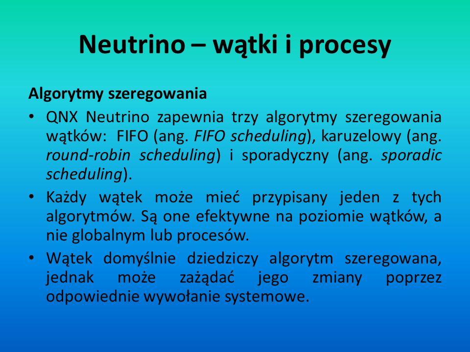 Algorytmy szeregowania QNX Neutrino zapewnia trzy algorytmy szeregowania wątków: FIFO (ang. FIFO scheduling), karuzelowy (ang. round-robin scheduling)