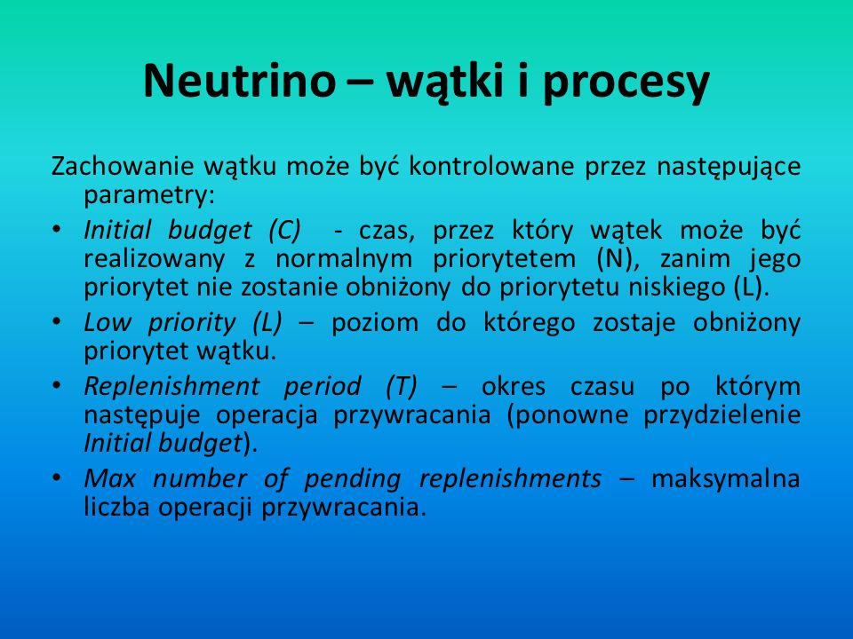 Neutrino – wątki i procesy Zachowanie wątku może być kontrolowane przez następujące parametry: Initial budget (C) - czas, przez który wątek może być r