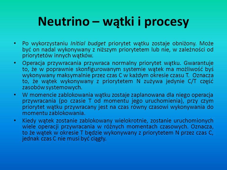 Neutrino – wątki i procesy Po wykorzystaniu Initial budget priorytet wątku zostaje obniżony. Może być on nadal wykonywany z niższym priorytetem lub ni