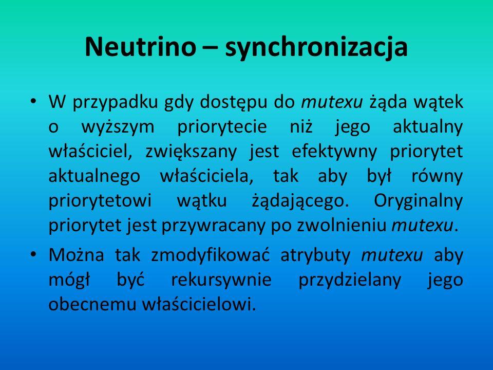 Neutrino – synchronizacja W przypadku gdy dostępu do mutexu żąda wątek o wyższym priorytecie niż jego aktualny właściciel, zwiększany jest efektywny p
