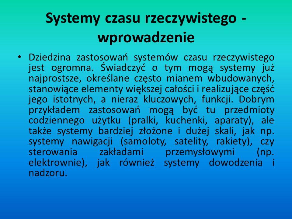 Systemy czasu rzeczywistego - wprowadzenie Aby system składający się z komponentów był systemem czasu rzeczywistego, konieczne jest spełnianie wymogów systemu czasu rzeczywistego przez każdy z komponentów.