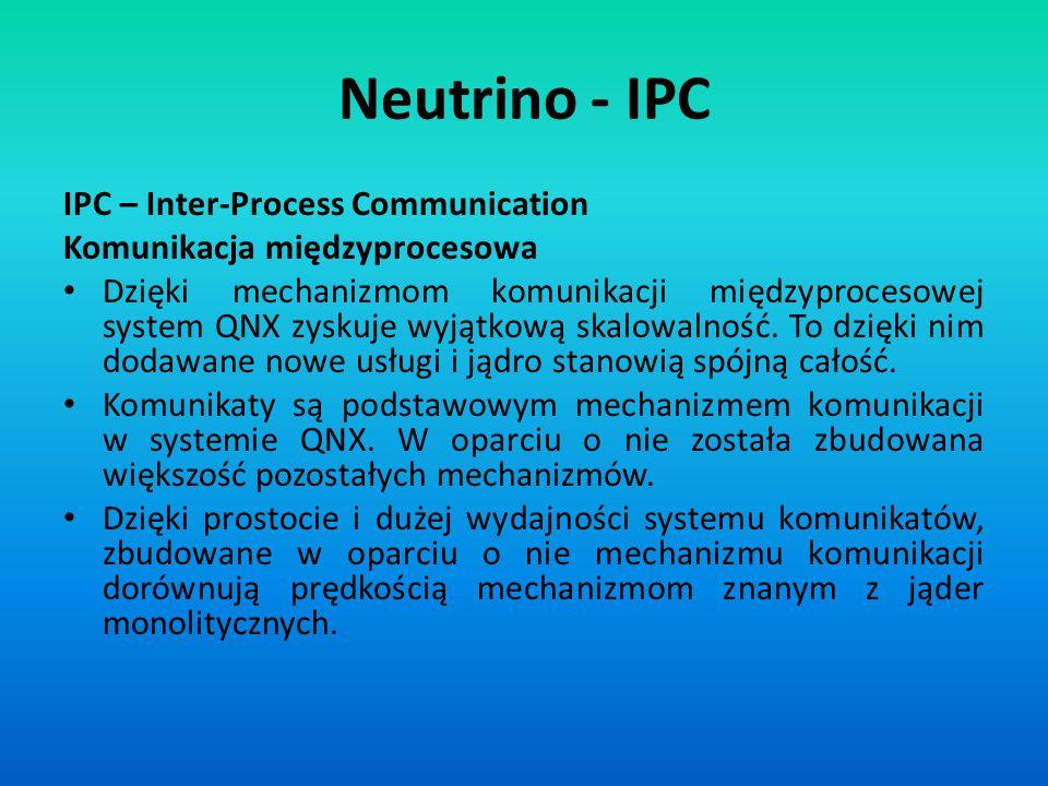 Neutrino - IPC IPC – Inter-Process Communication Komunikacja międzyprocesowa Dzięki mechanizmom komunikacji międzyprocesowej system QNX zyskuje wyjątk