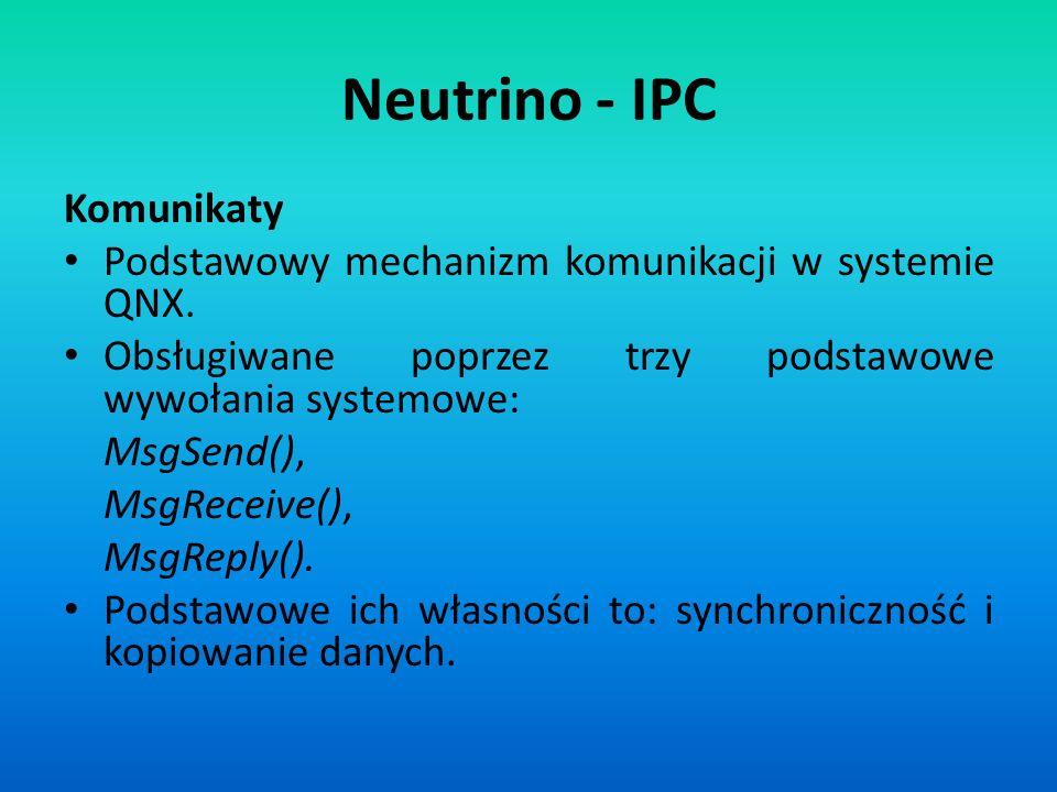 Neutrino - IPC Komunikaty Podstawowy mechanizm komunikacji w systemie QNX. Obsługiwane poprzez trzy podstawowe wywołania systemowe: MsgSend(), MsgRece