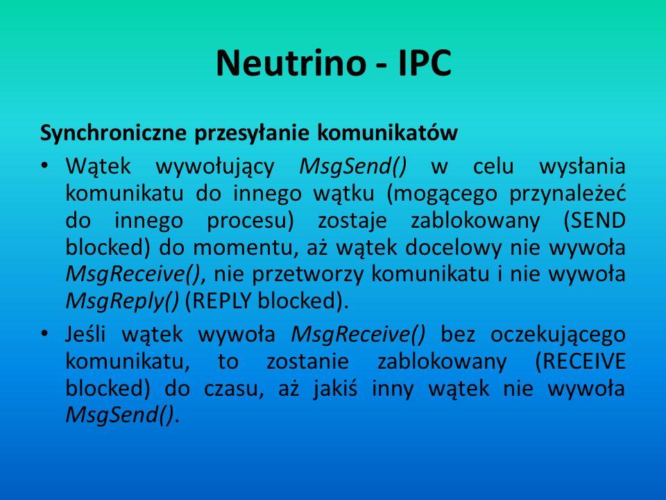 Neutrino - IPC Synchroniczne przesyłanie komunikatów Wątek wywołujący MsgSend() w celu wysłania komunikatu do innego wątku (mogącego przynależeć do in