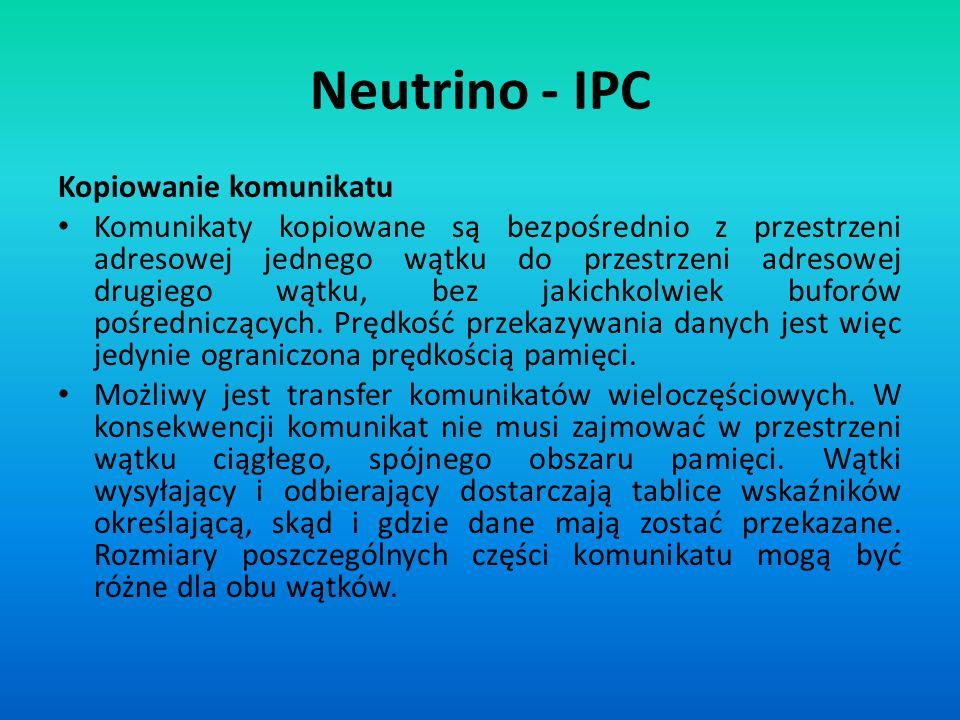 Neutrino - IPC Kopiowanie komunikatu Komunikaty kopiowane są bezpośrednio z przestrzeni adresowej jednego wątku do przestrzeni adresowej drugiego wątk