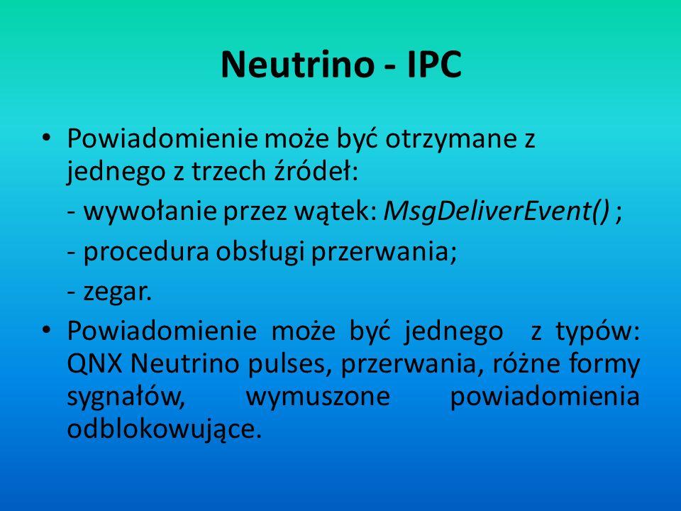 Neutrino - IPC Powiadomienie może być otrzymane z jednego z trzech źródeł: - wywołanie przez wątek: MsgDeliverEvent() ; - procedura obsługi przerwania