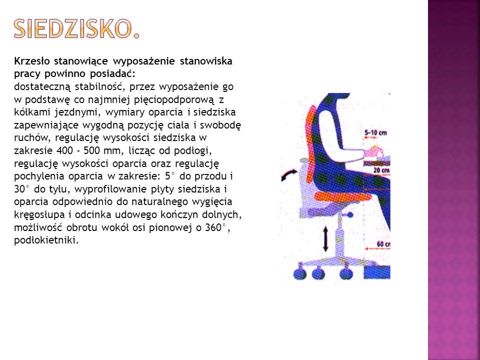 Krzesło stanowiące wyposażenie stanowiska pracy powinno posiadać: dostateczną stabilność, przez wyposażenie go w podstawę co najmniej pięciopodporową