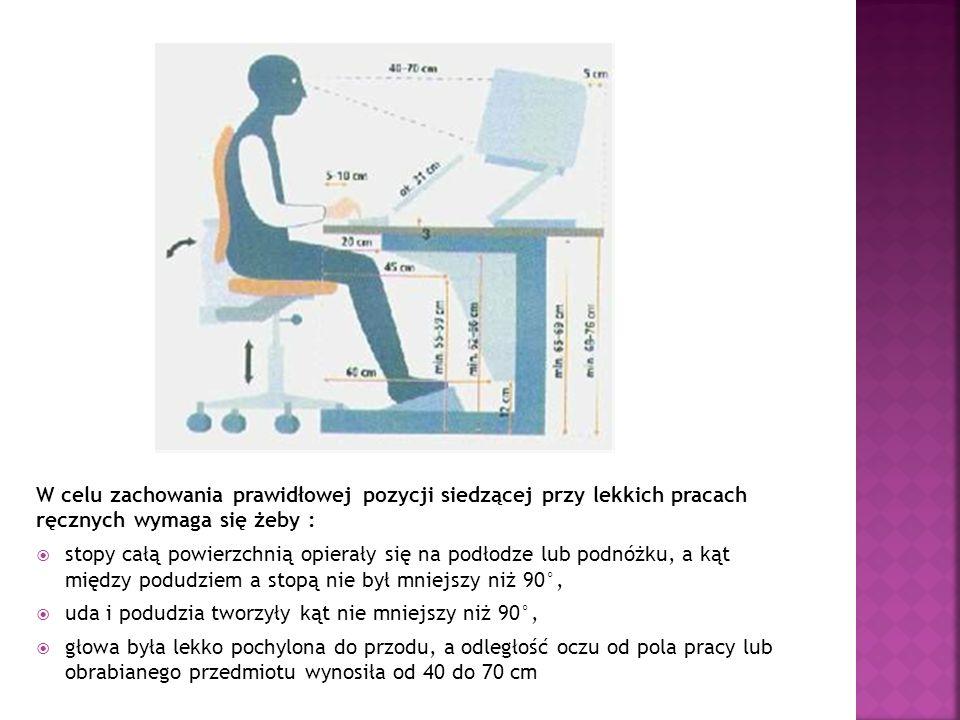 W celu zachowania prawidłowej pozycji siedzącej przy lekkich pracach ręcznych wymaga się żeby : stopy całą powierzchnią opierały się na podłodze lub p