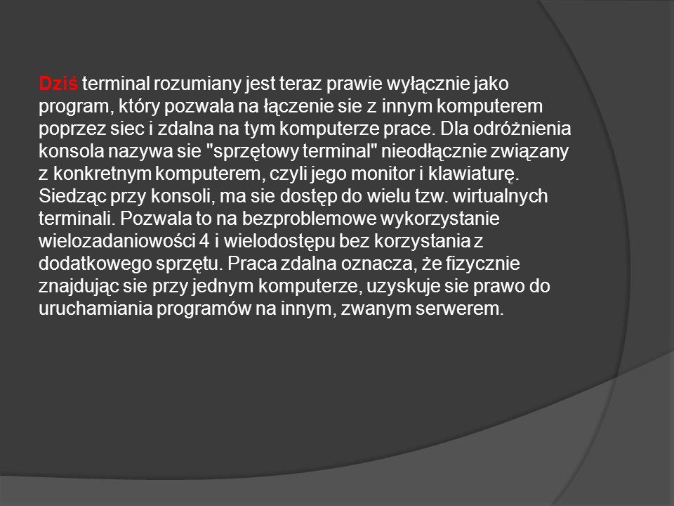 Dziś terminal rozumiany jest teraz prawie wyłącznie jako program, który pozwala na łączenie sie z innym komputerem poprzez siec i zdalna na tym komput