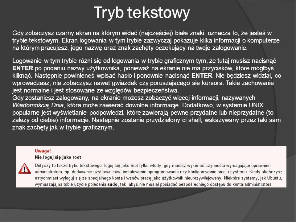 Tryb tekstowy Gdy zobaczysz czarny ekran na którym widać (najczęściej) białe znaki, oznacza to, że jesteś w trybie tekstowym. Ekran logowania w tym tr