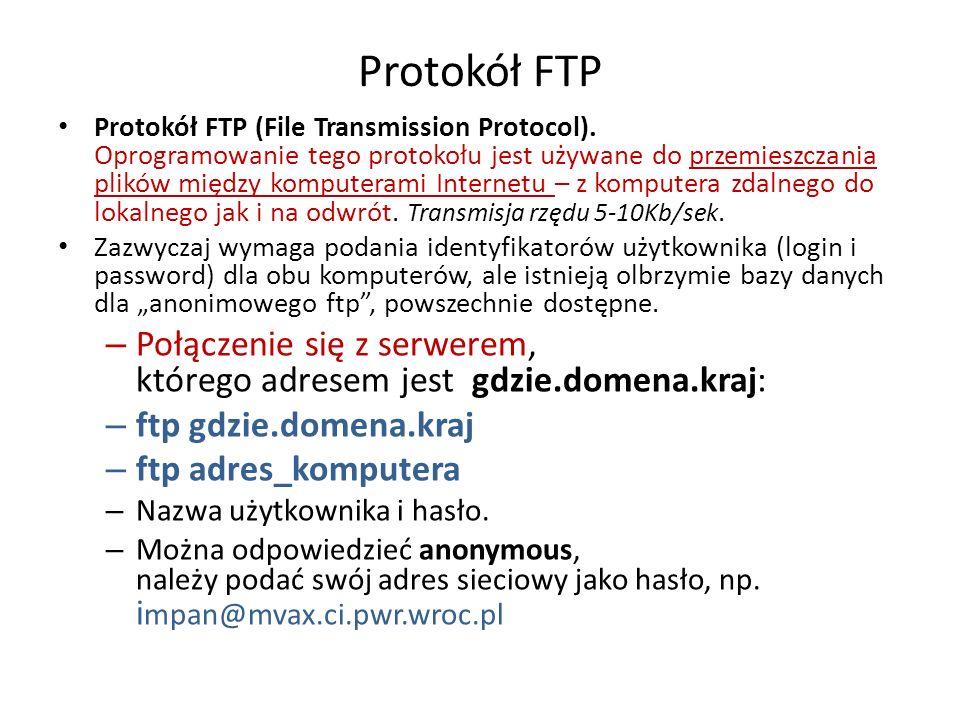 Protokół FTP Protokół FTP (File Transmission Protocol). Oprogramowanie tego protokołu jest używane do przemieszczania plików między komputerami Intern
