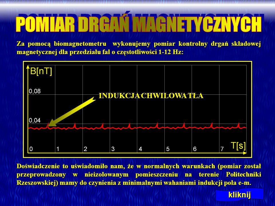 Za pomocą biomagnetometru wykonujemy pomiar kontrolny drgań składowej magnetycznej dla przedziału fal o częstotliwości 1-12 Hz: Za pomocą biomagnetome