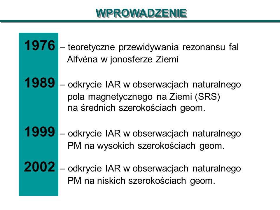 WPROWADZENIEWPROWADZENIE 1976 – teoretyczne przewidywania rezonansu fal Alfvéna w jonosferze Ziemi 1989 – odkrycie IAR w obserwacjach naturalnego pola magnetycznego na Ziemi (SRS) na średnich szerokościach geom.