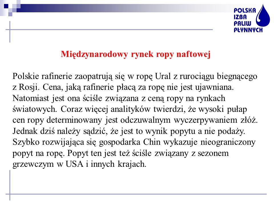 Międzynarodowy rynek ropy naftowej Polskie rafinerie zaopatrują się w ropę Ural z rurociągu biegnącego z Rosji. Cena, jaką rafinerie płacą za ropę nie