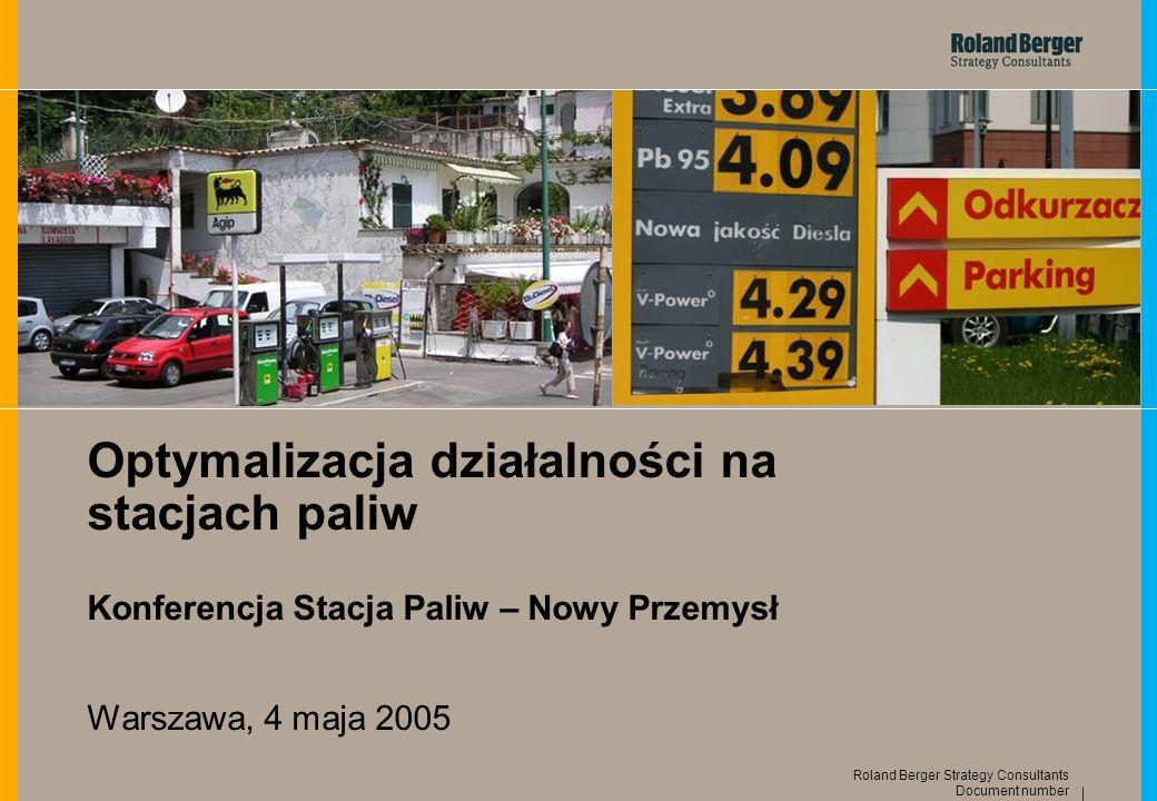 12 Document number Roland Berger Strategy Consultants Sprzedaż paliw na polskich stacjach jest niższa niż w rozwiniętych krajach zachodnioeuropejskich … Liczba pojazdów, stacji paliw oraz sprzedaż paliw na mieszkańca 2003 1) Źródło: Analiza Roland Berger 0 0.0001 0.0002 0.0003 0.0004 0.0005 0.0006 0.0007 0.0008 0.0009 0.30.350.40.450.50.550.60.650.70.75 Liczba pojazdów na mieszkańca Liczba stacji paliw na mieszkańca Sprzedaż paliw na mieszkańca 1) Dane częściowo 2002 Polska Irlandia Grecja Finlandia Holandia Belgia Portugalia Austria Francja Hiszpania