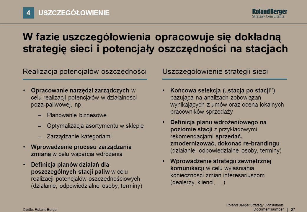 27 Document number Roland Berger Strategy Consultants W fazie uszczegółowienia opracowuje się dokładną strategię sieci i potencjały oszczędności na st