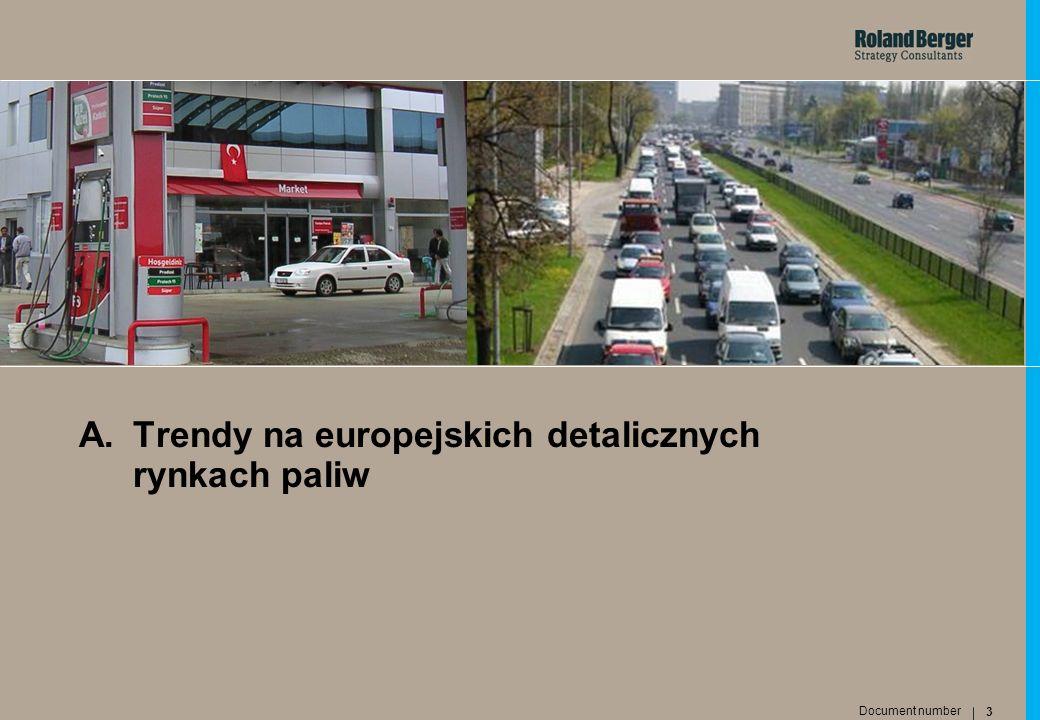 4 Document number Roland Berger Strategy Consultants Najważniejsze trendy na detalicznych rynkach paliw w Europie Wiodące koncerny Nowi konkurenci (hipermarkety) Stacje niezależne Stacje bezobsługowe Gracze rynkowi Stacje paliw Nowe produkty Sprzedaż poza-paliwowa 123654