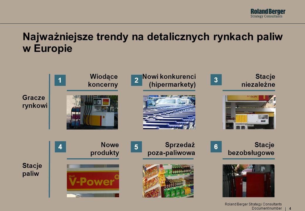 5 Document number Roland Berger Strategy Consultants Na międzynarodowych rynkach obserwuje się trendy konsolidacyjne Strategie międzynarodowych koncernów paliwowych 1 WIODĄCE KONCERNY Uczestnicy fuzji na rynkach europejskich Po konsolidacji Działania Nowe logo firmy BP Wycofanie marki AMOCO Segmentacja regionalna Rezygnacja z marki DEA (przyczyny: koszty funkcjonowania i problemy w pozycjonowaniu marek w Niemczech) Nowe logo i nazwa firmy Rezygnacja z marki Fina Total - marka premium, Elf - ekonomiczna Niemcy (wycofanie się z Czech) Wsch.